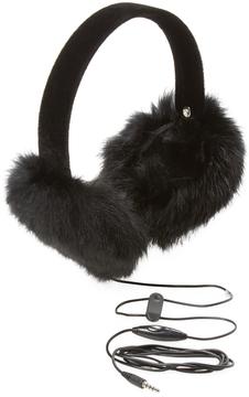 Surell Women's Long Hair Rabbit Hearmuff with Black Velvet Band (not Bluetooth)