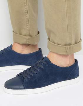 Dune Tate Lo Sneakers In Navy Suede
