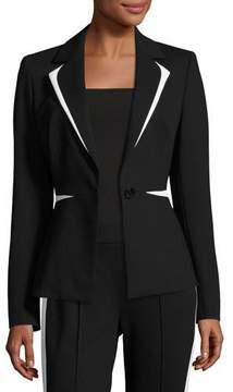 Escada Contrast-Trim One-Button Blazer, Black/White