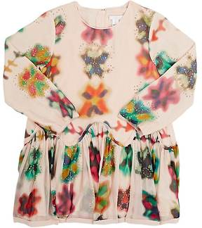 Chloé Kids' Sequin-Embellished Watercolor-Floral Silk Dress