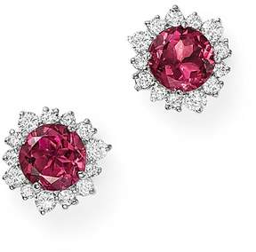 Bloomingdale's Pink Tourmaline and Diamond Halo Stud Earrings in 14K White Gold - 100% Exclusive