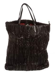 Bally Black Ruched Leather 2 Way Tote Handbag.