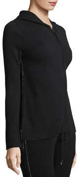 Neiman Marcus Chain-Trimmed Zip-Front Cashmere Hoodie