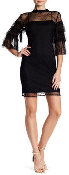 Alexia Admor 3/4 Length Ruffle Sleeve Mesh Dress