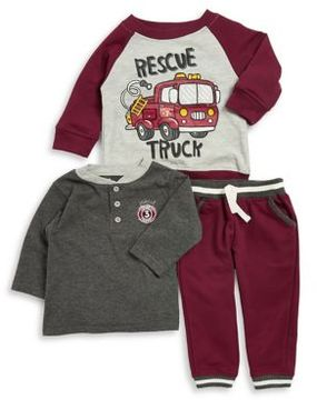 Nannette Baby Boy's Three-Piece Rescue Truck Graphic Sweater, Heathered Henley and Striped Jogger Pants Set