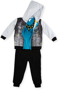 Petit Lem Three-Piece Biker Sweatshirt, Top & Pants Set, Gray, 9-12 Months