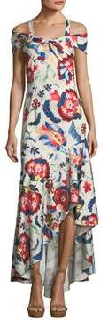 Sachin + Babi Heritage Cold-Shoulder Flounce-Hem Gown