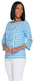 Bob Mackie Bob Mackie's Placed Print Knit Pullover Top