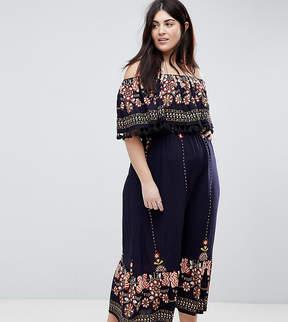 Brave Soul Plus Kaylee Off Shoulder Maxi Dress with Tassel Trim