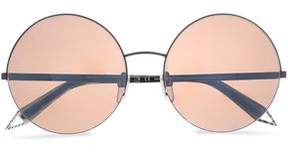 Victoria Beckham Supra Round-Frame Gunmetal-Tone And Acetate Sunglasses
