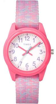 Timex Girls Time Machines Pink/White Sport Watch, Elastic Fabric Strap