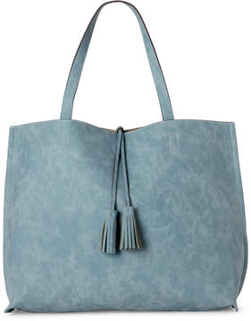 Street Level Reversible Faux Suede Tassel Tote