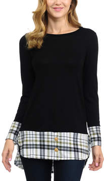 Celeste Black Plaid-Trim Button-Accent Tunic - Women