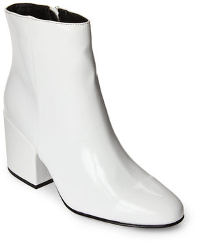 Madden-Girl White Arcade Patent Block Heel Booties