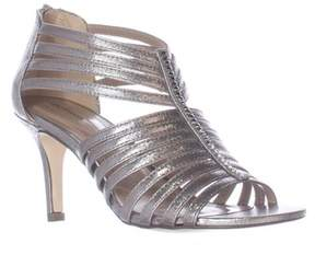 Style&Co. Sc35 Shaynaa Strappy Jeweled T-strap Sandals, Pewter.