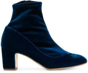 Rupert Sanderson velvet block heel ankle boots