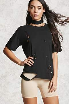 Forever 21 Distressed Round Neck Tee