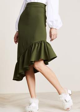 Edit Asymmetric Peplum Skirt Army Green