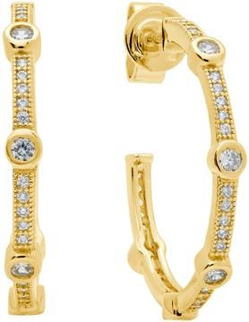 Crislu 18K Gold Plated Sterling Silver Stackable Bezel Set & Pave CZ 25mm Open Hoop Earrings