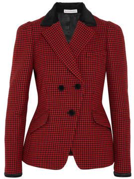 Altuzarra Paladini Velvet And Satin-trimmed Houndstooth Wool Jacket - Crimson