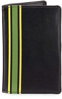 Neiman Marcus Striped Faux-Leather Passport Case