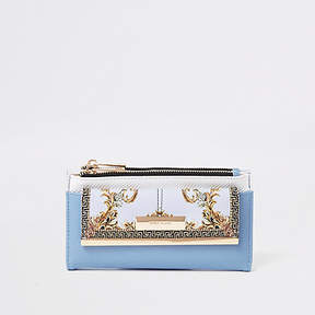 River Island Blue mini front pocket foldout purse