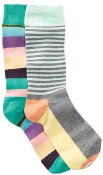 Happy Socks Stripes Crew Socks - Pack of 2