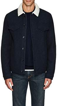 Loro Piana Men's Felted Wool-Cashmere Trucker Jacket