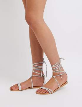 Charlotte Russe Qupid Lace Up Flat Sandals
