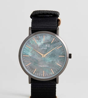 Reclaimed Vintage Inspired Utility Marble Canvas Watch In Black Exclusive To ASOS