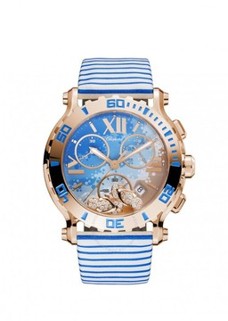 Chopard Happy Sport Chrono Beach Motif Dial 18kt Rose Gold Ladies Watch