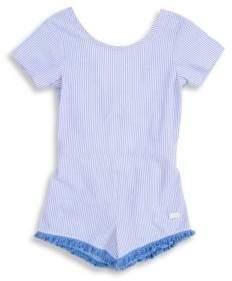 7 For All Mankind Little Girl's& Girl's Striped Open-Back Romper