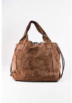 Brunello Cucinelli Pre-owned Brown Suede & Nylon Drawstring Hobo Bag.