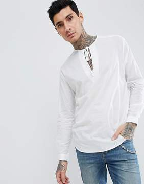 Asos DESIGN oversized sheer v neck shirt with tie