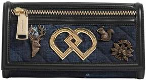 Dd Denim & Leather Clutch W/ Charms