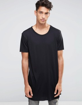 New Look Extreme Longline T-Shirt In Black