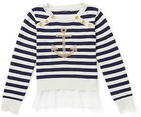 Nautica Toddler Girls' Metallic Waist Ponte Shirt (2T-4T)