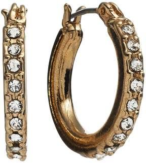 Dana Buchman Gold Tone Simulated Crystal Hoop Earrings
