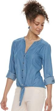 Candies Juniors' Candie's Tie-Front Chambray Top