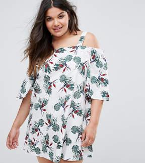 Alice & You Palm Print Cold Shoulder Dress