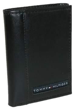 Tommy Hilfiger Men's Leather Cambridge Trifold Wallet, Black