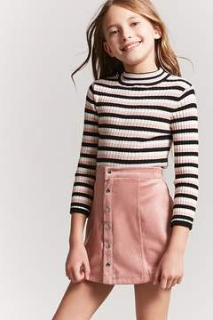 Forever 21 Girls Stripe Mock Neck Top (Kids)