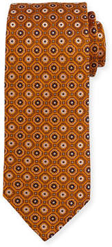 Eton Woven Flower Medallion Silk Tie, Yellow/Orange