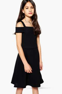 boohoo Girls Bardot Open Shoulder Skater Dress