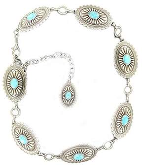 Ariat A1515836-XL Womens Oval Turquoise Concho Chain Belt, Silver - Extra Large