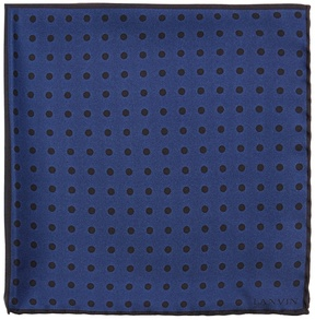 Lanvin Contrast-panel polka-dot silk pocket square