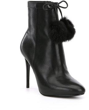 MICHAEL Michael Kors Remi Calf Leather Rabbit Fur Pom Pom Booties