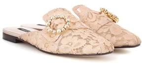 Dolce & Gabbana Jackie crystal-embellished lace slippers