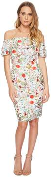 Adrianna Papell Bloom Printed Off Shoulder Women's Dress
