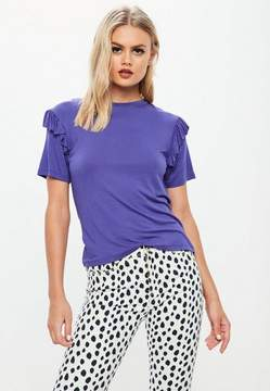 Missguided Purple Frill Sleeve T-Shirt